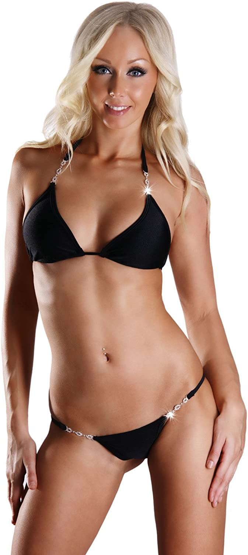 Annsfashion Women's Thong Bikini Set with 4 Rhinestone Buckles