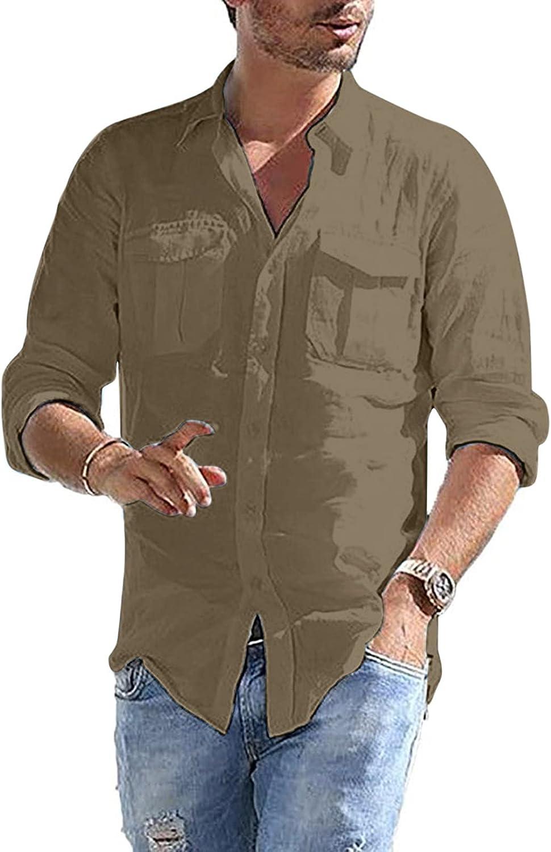 Aayomet Men's Cotton Linen Shirts Casual Pocket Long Sleeve Button Down T-Shirt Loose Daily Beach Yoga Sport Tee Shirts Tops