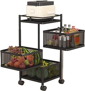 LKH Chariots De Cuisine sur Roues (3 Niveaux), Petit Chariot De Rangement De Roulement avec 3 Paniers Rotatifs pour Salon ...