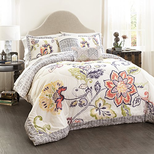Lush Decor Coral and Navy Aster Comforter Set-Flower Pattern Reversible 5 Piece Bedding-King