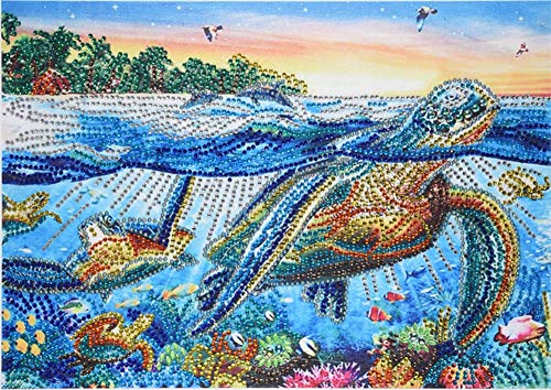 Diamond Painting DIY 5D Special Shape Rhinestones, ABEUTY Turtle Seagull Sea Forest, Partial Drill Crystal Diamond Art Kits