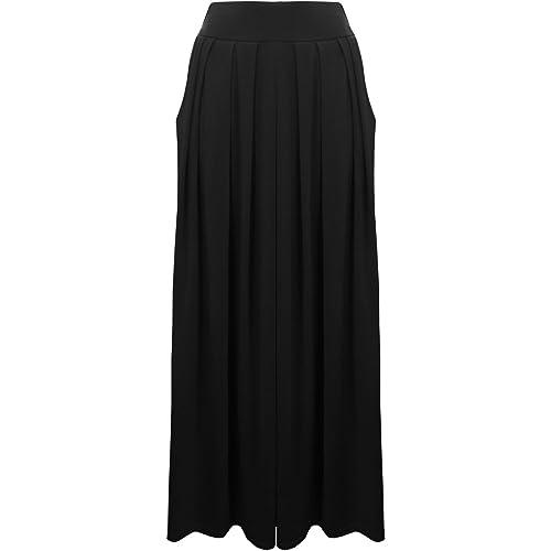6b97e32f7b LessThanTenQuid Ladies Womens Plain Pleated Elasticated Waist Pocket Long  Maxi Skirt Size 8-14