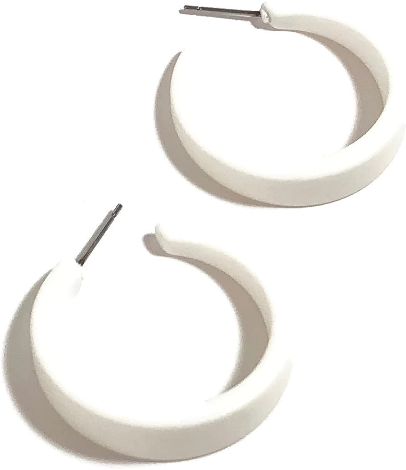 White Acrylic Tapered Lucite White Hoop Earrings 1.25 Inches