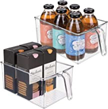 mDesign Plastic Kitchen Pantry Cabinet Refrigerator Food Storage Organizer Bin Holder with Handle - for Organizing Individ...