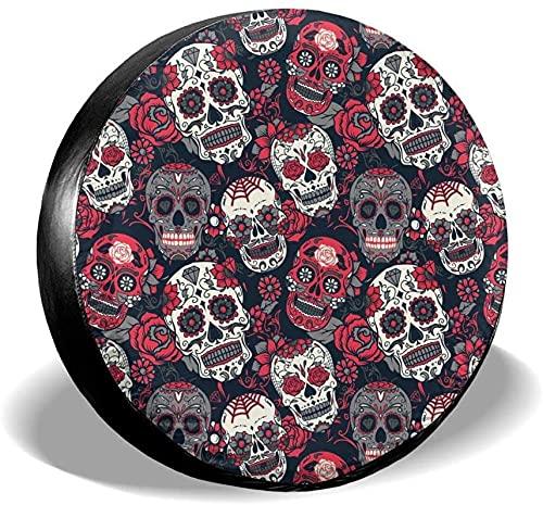Sugar Skull - Cubierta para neumáticos de repuesto,poliéster,universal,de 15 pulgadas,para ruedas de repuesto,para remolques,vehículos recreativos,SUV,ruedas de camiones,camiones,caravanas,accesorios