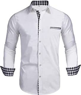 Pacinoble Men's Button Up Shirt Slim Fit Dress Shirt Plaid Contrast Shirt Long Sleeve Casual Button Down Shirts