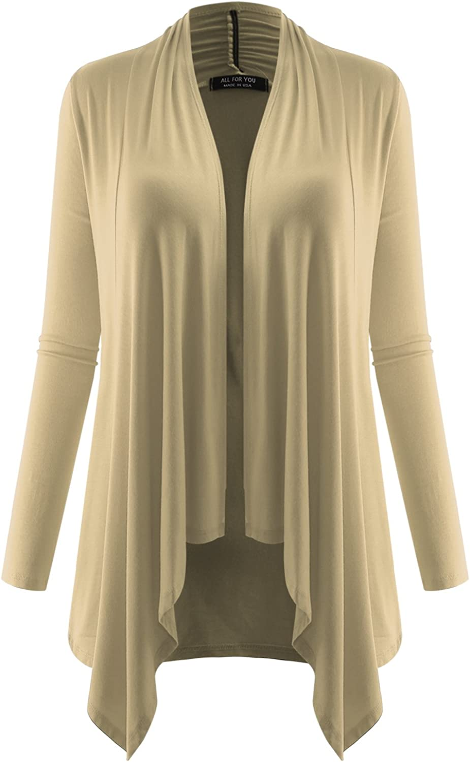 All for You Women's Soft Drape Cardigan Long Sleeve Made in USA