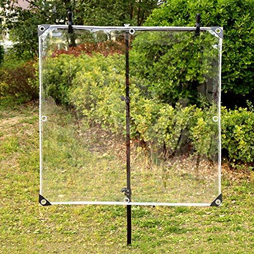 Lona impermeable transparente de PVC de 0,35 mm, resistente a los rayos UV y al frío, para exteriores, jardín, balcón, ventana, 400 g/? (2,1 x 4 m/6,9 x 13,1 pies)