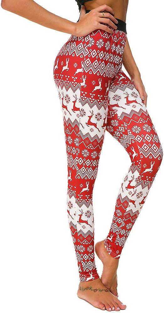 WOCACHI Christmas Womens Leggings Reindeer High-Waist Ranking Special Campaign TOP10 Skinn Xmas