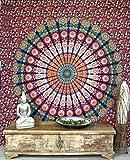 GURU SHOP Boho-Style Wandbehang, Indische Tagesdecke Mandala Druck- Orange/blau, Rot, Baumwolle, 230x210 cm, Bettüberwurf, Sofa Überwurf