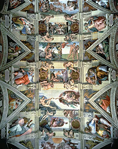 "Michelangelo Buonarroti Sistine Chapel Ceiling and lunettes Vatican Museums and Galleries, Vatican City, Italy 30"" x 24"" Fine Art Giclee Reproduction Canvas Print (Unframed)"
