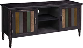 VASAGLE TV Cabinet for TVs up to 50 Inches, with 2 Open Shelves, Rustic TV Stand with Colorful Doors for Living Room, Entertainment Room, Office, Solid Wood Legs, Easy to Assemble, Brown ULTS05GL