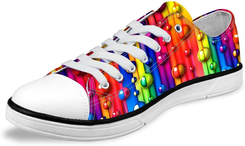 FOR U DESIGNS colorful Pigment Print Lo-top Lace Up Canvas Women Tennis Walking shoes US 8