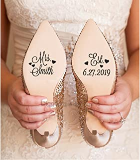 Custom Bridal Shoe Decal for Wedding with Hearts Wedding Decorations Personalized Wedding Shoe Sticker (1.5