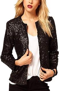 Lrud Women's Street Style Fashion Unique Glitter Open Front Sequins Party Club Blazer Jacket XS-XXL