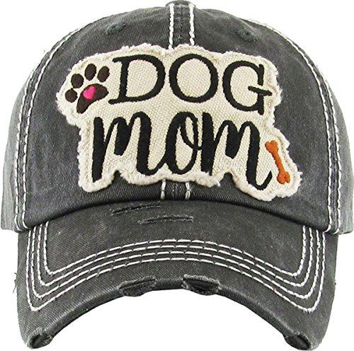 Distressed Baseball Cap Vintage Women Dad Hat - Dog Mom Patch (Black)