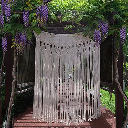 "Hysunland Macrame Curtain for Doorway Large Macrame Backdrop Wedding Bohemian Decor Woven Tapestry, 52"" W x 74"" H"