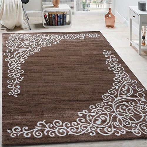 Paco Home Designer Teppich Mit Floral Glitzergarn Muster Beige Weiß Braun Meliert, Grösse:160x220 cm