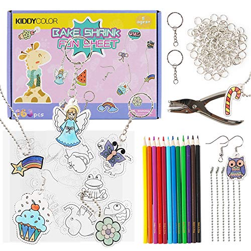 KIDDYCOLOR 163pcs Shrinky Art Craft Set for Kids, Include 10Pcs Blank Shrink Film Paper, 5Pcs Shrinky Art Paper w/Pattern, Hole Punch, Key Chains, Colored Pencils, Ideal for Kids Age 5 6 7 8 9 10