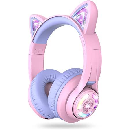 iClever BTH13 Bluetooth Headphones, Cat Ear LED Light Up Wireless Kids Headphones with Volume Limited (74/85/94dB), 45H Playtime, Children Headphones with MIC Over Ear for School/Tablet/PC, Purple