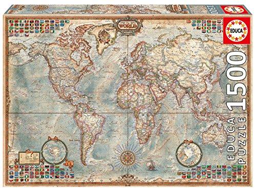 Educa - El Mundo, Mapa político geografía Puzzle, 1 500 Piezas, Multicolor (16005)