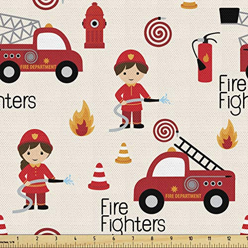 Lunarable Truck Fabric by The Yard, Little Boys and Girls in Uniforms Fighters Theme Career Profession Pattern, Decorative Fabric for Upholstery and Home Accents, 1 Yard, Red Cream