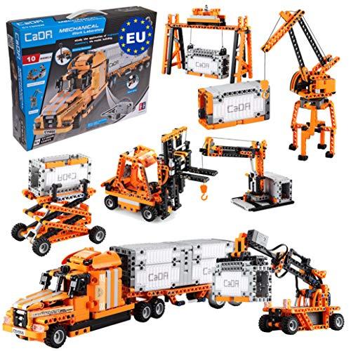 Juego de puerto 10 en 1 (camión, tráiler, montacargas, grúas, contenedor y mucho más), 634 piezas (compatible con sets de LEGO Technic, como 42062, 42078, 8285, 42062, 42079, 8416 o 42061) C71002W