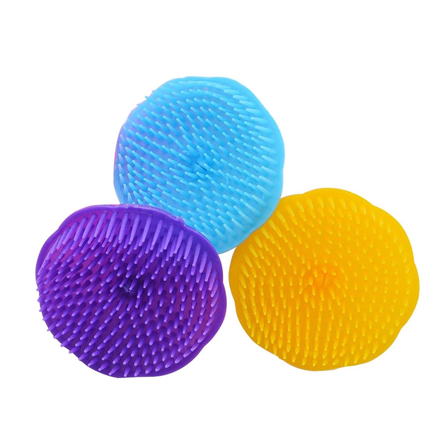 オリエントマニアック自然SUPVOX ヘアマッサージブラシ シャワーシャンプー頭皮ブラシヘッドボディマッサージスパスリミングブラシ3PCS(ランダムカラー)