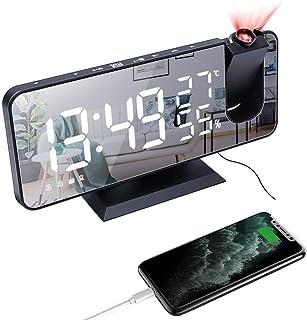 Radio väckarklockor vid sängen, ultraklar projektor stor LED digital spegel väckarklocka med trådlös laddning, nätdriven, ...