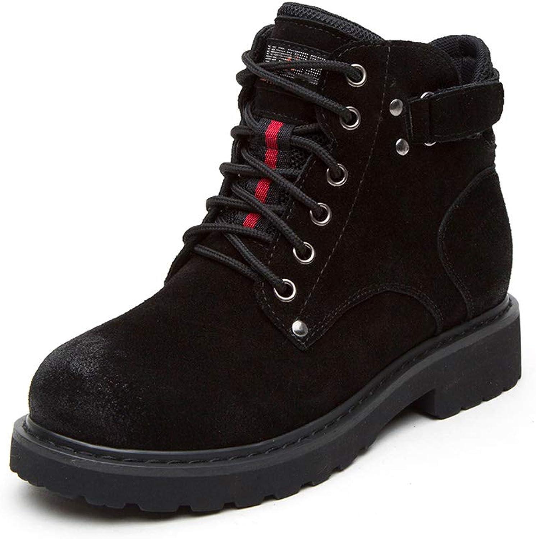 DANDANJIE Womens Boots Lace-up Short Boots Flat Heel Scrub Retro Martin Boots Autumn and Winter