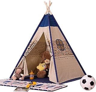 HO-TBO lektält, Blue Spire Striped prinsessa tält barn fotografi rekvisita pojke flygplan tält Indian Playhouse vikbar bom...