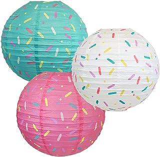 Just Artifacts 12inch Hanging Paper Lanterns (Sprinkles Pattern 3pcs)