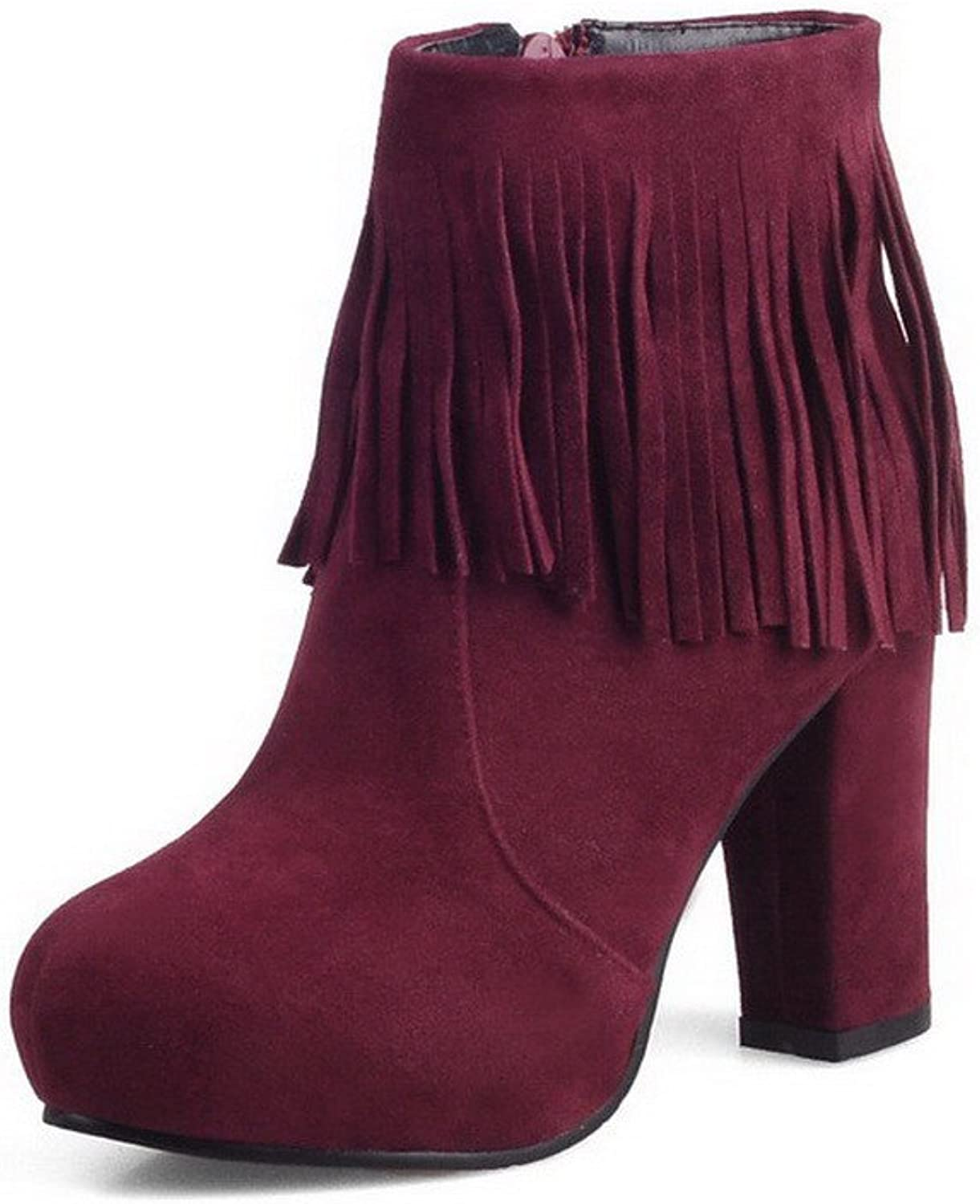 WeenFashion Women's Round Closed Toe Low-Top High-Heels Solid Imitated Suede Boots