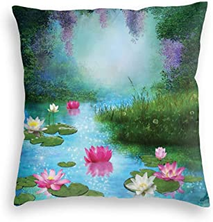 GULTMEE Velvet Soft Decorative Square Accent Throw Pillow Covers Cushion Case,Fantasy Pond with Water Lilies Floating Romantic Lotus Fairy Tale Digital Art,for Sofa Bedroom Car 22IN
