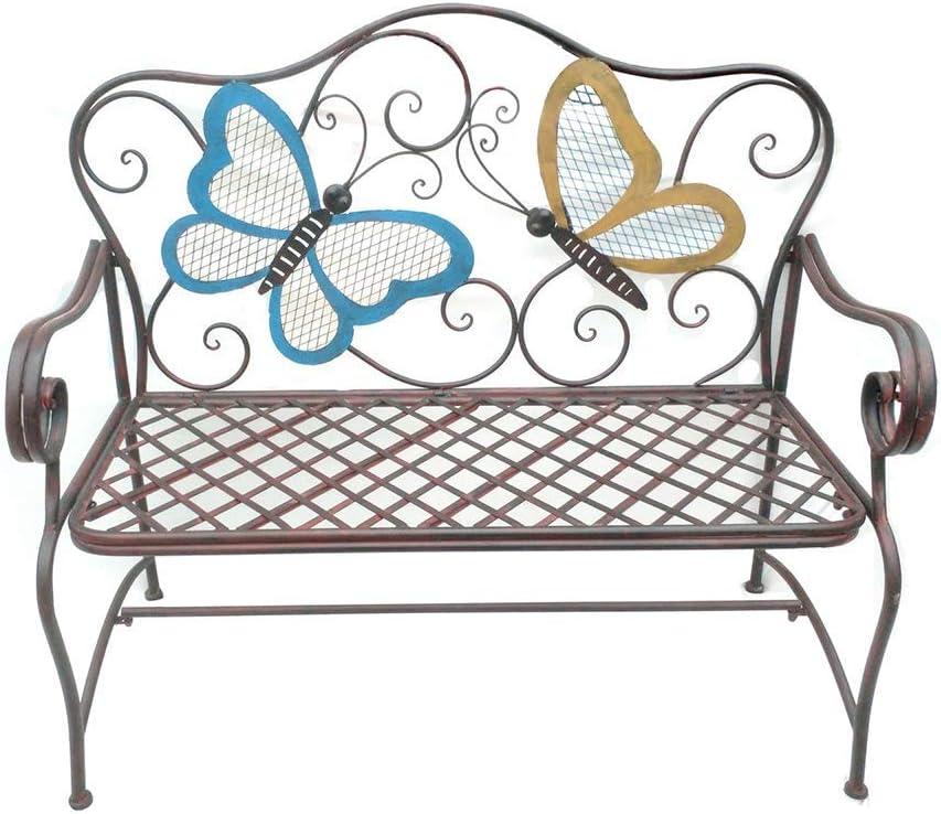 UWY Silla de Mariposa de Ocio de Hierro Forjado Retro, Silla Doble de jardín para Patio al Aire Libre, Banco de Respaldo de Metal a Prueba de óxido para terraza
