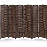 JOSTYLE Room Divider 6ft. Tall Extra Wide Privacy Screen, Folding Privacy Screens with Diamond Double-Weave Room dividers and Freestanding Room Dividers Privacy Screens(Brown, 6-Panel)
