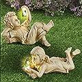 Garden Sculptures & Statues Outdoor Garden Statues Solar Lighted Firefly Jar Garden Children Boy Girl Statue Utdoor Sculpture Decor Boys and Girls