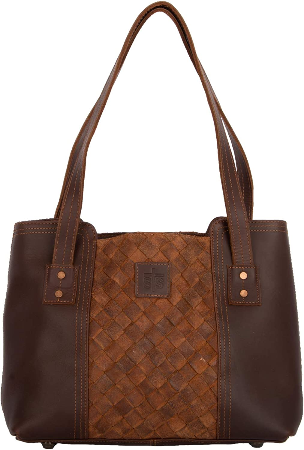STS Ranchwear Genuine Free Shipping Basket Weave Small Size Tote One Brown Boston Mall