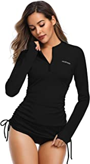 HISKYWIN Women's Long Sleeve UV Sun Protection Rash Guard Side Adjustable Wetsuit Swimsuit Top