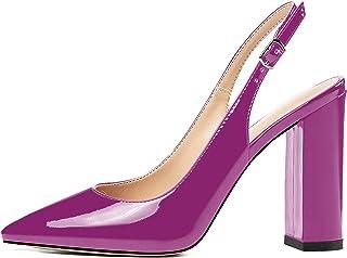 elashe Escarpins Talon Bloc Femme - 4 inch Chaussures à Talons Hauts et Bride Cheville avec Boucle- Classique Bureau Soiree
