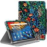 MoKo Hülle für Lenovo Yoga Smart Tab 10.1 (YT-X705F), PU Leder Tasche Schutzhülle Smart Hülle mit Standfunktion für Lenovo Yoga Smart Tab 10.1 (YT-X705F) Tablet - Dschungel Nacht