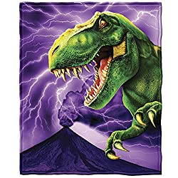 8. Dawhud Direct T-Rex Super Soft Plush Fleece Throw Blanket