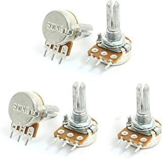uxcell® Top Adjustment Single Turn Knurled Shaft Potentiometer 10K Ohm 5pcs