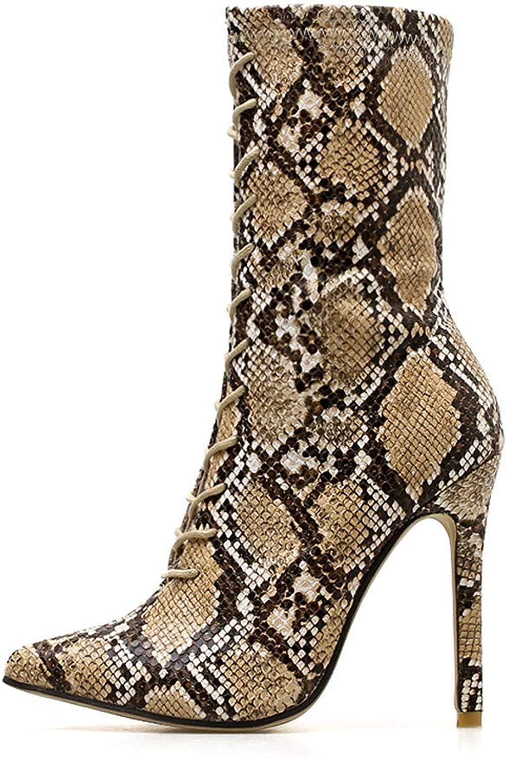 Women Boots,Toponly Women Pumps Snakeskin Pattern Pointed Zip Thin High Heels shoes Boots