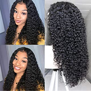 Guleless 13x6 Deep Part Lace Front Human Hair Wigs for Black Women Curly Brazilian Virgin Hair Lace Front Wig with Baby Hair (24 Inches, 150% Density)