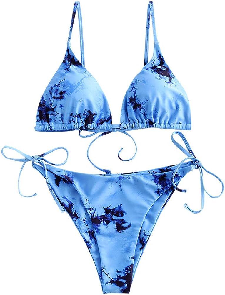 ZAFUL Women's Tie Dye Cinched String Triangle Bikini Set Three Piece Swimsuit
