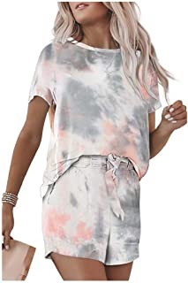 neveraway Women's T-Shirt and Shorts Loose Tracksuit Tie Dye Print 2-Piece Suit