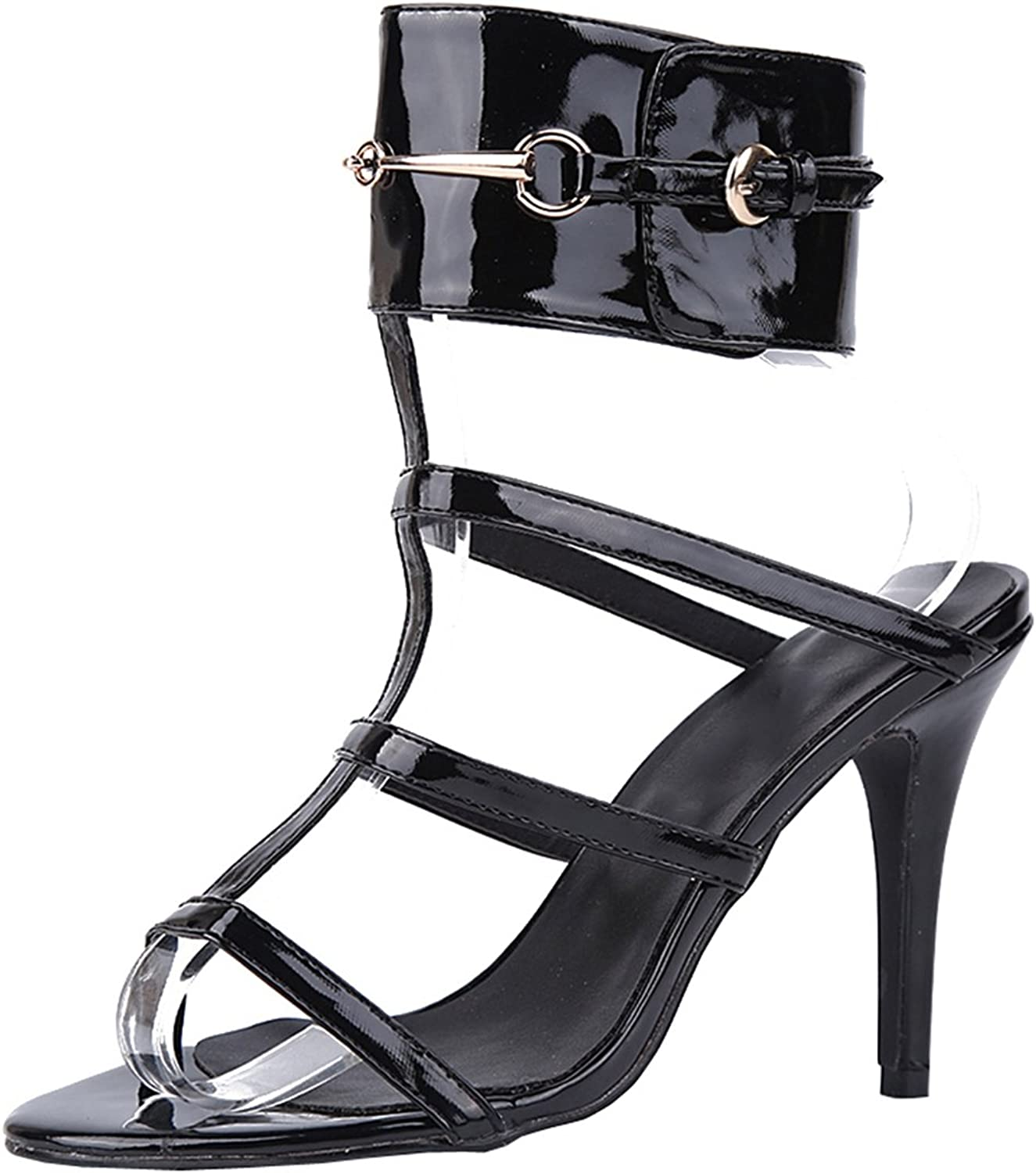 TDA Women's Ankle Strap Gladiator Slingback Patent Leather Evening Party Dress Sexy Stiletto Sandals