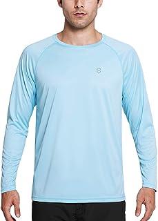 Soniz Men's UPF 50+ UV Sun Protection Long Sleeve Shirt Quick Dry Lightweight Running Outdoor Shirt