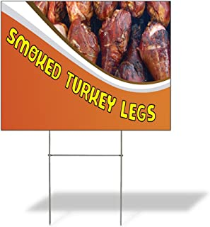 Plastic Weatherproof Yard Sign BBQ Smoked Turkey Legs #1 Style C for Sale Sign One Side 18inx12in